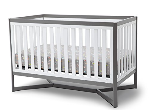 Delta Children Tribeca 4-in-1 Baby Convertible Crib, White/Grey For Sale