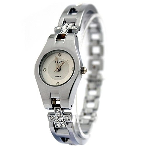 Round PNP Shiny Silver Watchcase White Dial Ladies Women Bracelet Watch FW768A