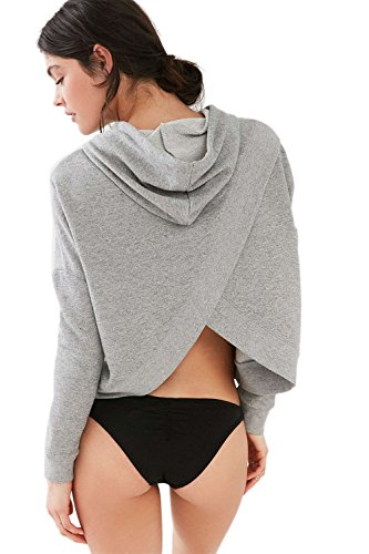 Casual Surplice espalda con capucha moda sudaderas de la mujer