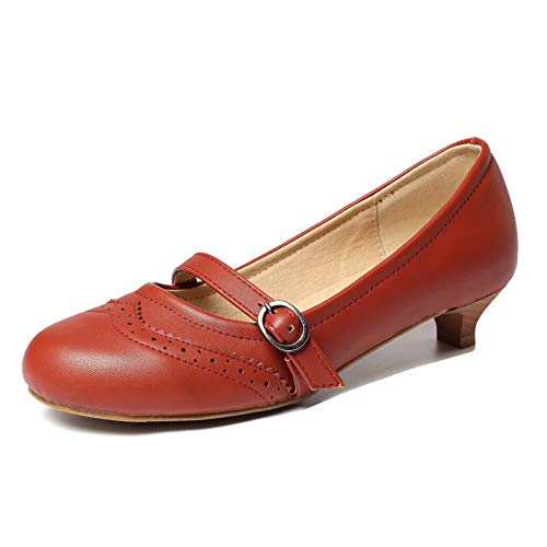 getmorebeauty Women's Brown Vintage Low Heels Dress Shoes Straps Buckle Kitten Pumps 8 B(M) US
