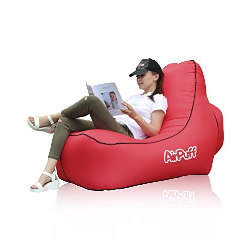 AirPuff Inflatable Lounge Chair Outdoor Beach, Travel, Lawn - Comfortable Lazy Chair Lounger Portable (Red) by AirPuff