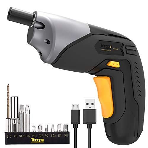 Cordless Screwdriver Rechargeable, Professional Electric Screwdriver with 4V Max 2000mAh Li-ion, MAX Torque 4Nm - Double LED, Palm-Sized, with Various Bits, Power Indicator, USB Charging