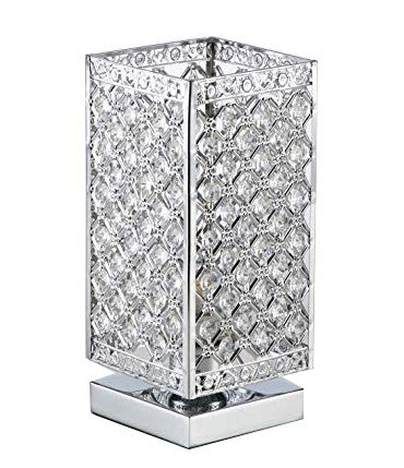 COTULIN Modern Elegant Crystal Square New Style Metal Table Lamp, Bedside Desk Lamp With Square metal Shade for Bedroom, Dresser, Living Room, Kids Room, Bookcase, Restaurant, Coffee Table
