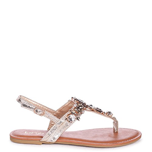 Ashleigh - Gold Metallic Flat Sandal with Stone Embellishment and Toe Post Gold 3XXu53BN