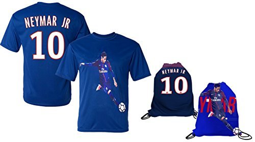 Neymar Jersey Style T-shirt Kids Neymar Jr Jersey PSG T-shirt Gift Set Youth Sizes ✓ Premium Quality ✓ ✓ Soccer Backpack Gift Packaging (YL 10-13 Years Old, Neymar (Quality Sporting Goods)