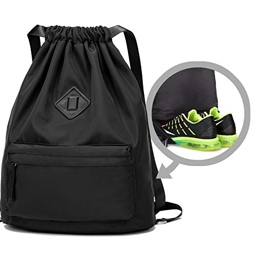 WANDF Drawstring Backpack with Shoe Compartment, Sackpack Water Repellent Gymbag for Shopping Sport Yoga (Black New)