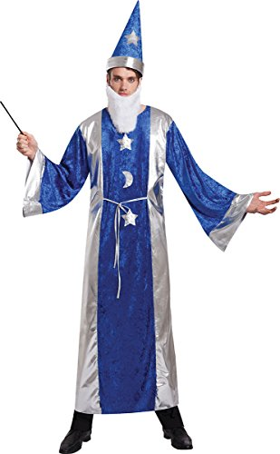 [Mens Halloween Fancy Dress Sorcerers Apprentice Wizard Outfit Magician Robe Hat] (Sorcerer Apprentice Costume)