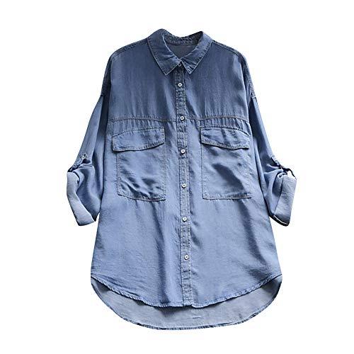 (Women Tops, ANJUNIE Long Sleeve Loose Cotton V-Neck Shirt Fashion Slim T-Shirt(Blue4,M))