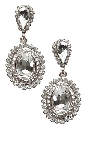 Silver Tone Art Deco Tacoris Style Double Halo Rhinestone Wedding Bridal Prom Earrings (Escada Rhinestone)