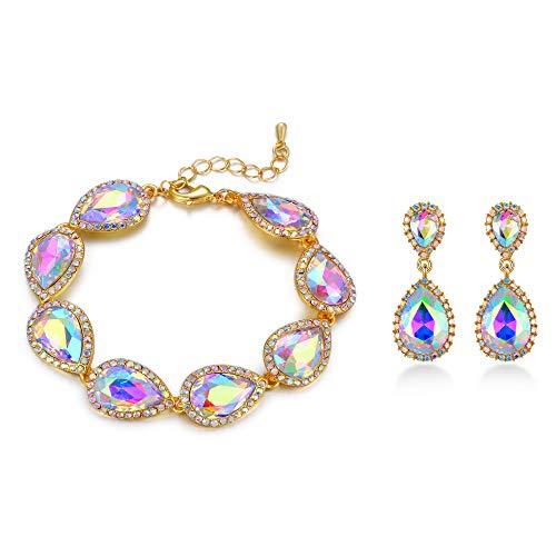 EVER FAITH Women's Crystal Elegant Banquet Teardrop Pierced Earrings Bracelet Set Iridescent AB Gold-Tone ()