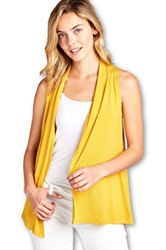 (ReneeC. Women's Extra Soft Natural Bamboo Sleeveless Cardigan - Made in USA (2X-Large, Mustard))