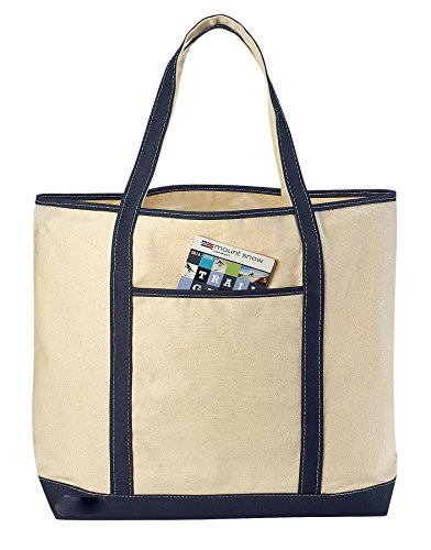 Bags Canvas Monogrammed Tote - Canvas Tote Beach Bag - These Large Bags Are Strong Enough to Carry Beach Gear and Wet Towels. Front Pocket, Inside Zippered Pocket and Shoulder Straps for Easy Carrying. (Navy Blue | 22 x 16 Inches)