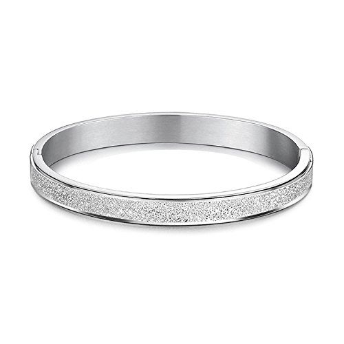 LIEBLICH Oval Silver High-Polished Hinged Bangle Bracelet Solid Titanium Frosted Bangle