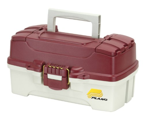 Plano 1-Tray Tackle Box with Dual Top Access, Red Metallic/Off White, Premium Tackle -