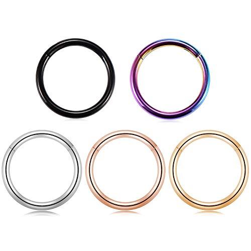 18 Gauge Surgical Steel Segment Ring Hinge Clicker Nose Lip Round Hoop Septum Jewelry Ring Piercing Earrings 3/8 Inch ()