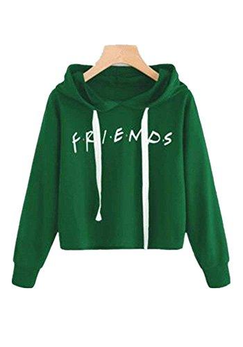 Womens Friends Hoodies,Crop Top Sweatshirt Athletic Hooded Pullover XS Green by Tasatific