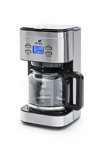 Senya SYBF-CM019 Cafetera programable, 800 W, 1.5 litros, Inoxidable, negro y acero