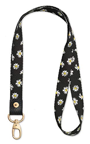 SENLLY Daisies Neck Lanyard Strap Premium Quality with Metal Clasp and Genuine Leather, for Id Badges, Card Holder, Keychain, Cell Mobile Phone, Lightweight Items etc
