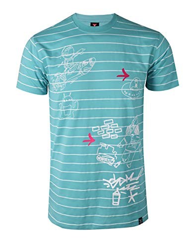 SCREENSHOTBRAND-S11916 Mens Hipster Hip-Hop Premium Tee - Luxury Longline Monoprint Horizontal Stripe Print T-Shirt-Turquoise-Small