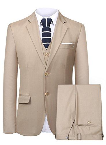(Men's Suit 3 Piece Busines Classic Solid Regular Fit Blazer Coat Vest Pants Set(Khaki,36))