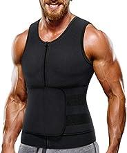 Nebility Neoprene Sauna Suit for Men Waist Trainer Vest Zipper Body Shaper with Adjustable Tank Top