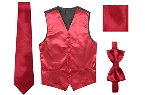 Bow Chest - JAIFEI Satin Men Wedding Vest - Set Neck Tie, Bow Tie & Handkerchief (M(Chest 39), Burgundy)