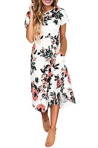 OMZIN Vestido Largo de Manga Corta Imperio con Estampado Floral para Mujer S-3XL Blanco