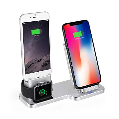 ger Station, Aluminum Charger Stand,for iWatch/Airpods/iPhone Charging,Qi Wireless Charging Station, for iPhone X/XS/XR / 8/7 / 6s / Plus, iWatch 4/3/2/1 (Silver) ()