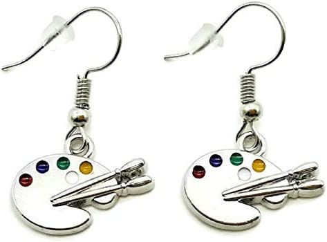 Artist Paint Palette Earrings Paint Brush Earrings Artist Earrings Art Palette Charm Earrings Paint Palette Charm Jewelry Paintbrush Charm Artist Gift Painter Gift Artist Dangling Earrings Amazon Sg Sports Fitness Outdoors