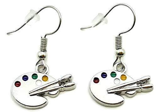 Artist Paint Palette Earrings, Paint Brush Earrings, Artist Earrings, Art Palette Charm Earrings, Paint Palette Charm Jewelry, Paintbrush Charm, Artist Gift, Painter Gift, Artist Dangling Earrings