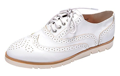 Nature Breeze Women's Lace-up Wingtip Low Flatform Platform Oxford Shoe (6 B(M) US, White)