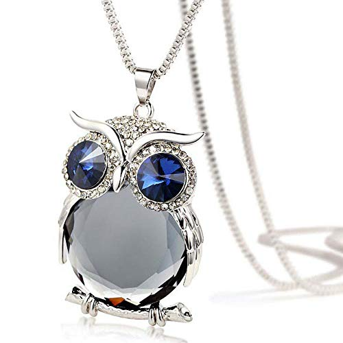 Night Guardians Owl Pendent Necklace Birthstone Blue Crystal Vintage Owl Pendant Silver Diamond Sweater Chain Long…