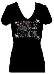 Every Bunny Needs Bling Rhinestone V-Neck Short Sleeve Tee Shirt