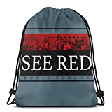 Generic See Red City Slogan Men Women Water Repellent Gymbag Large Drawstring Backpack