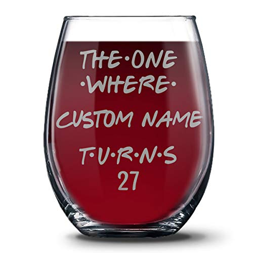 Personalized 27th Birthday 21 oz Stemless Glasses for Women and Men, Happy 27 Birthday Gift, 27 Years Birthday Wine Glass, 27th Birthday Party Decoration Gift Ideas For Her or Him -