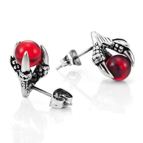 - Vintage Stainless Steel Dragon Claw Mens Stud Earrings Set, 2pcs, Color Silver Red