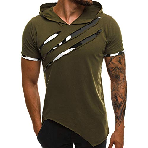 - FEDULK Men's Sport Casual Hooded Pullover Slim Fit Short Sleeve Hoodies T Shirt Workout Top Tees(Green, XXX-Large)