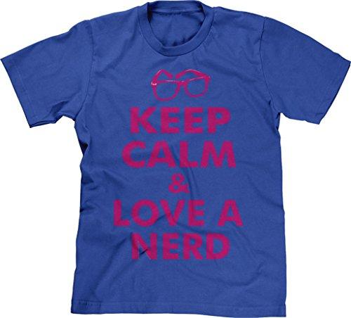 Love Sheldon Cooper Tv - Blittzen Mens Keep Calm Love A Nerd, 2XL, Royal Blue