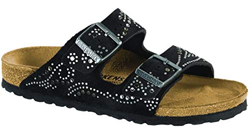 Birkenstock Women's Arizona Rivets Sandal Injected Black Suede Size 38 N EU