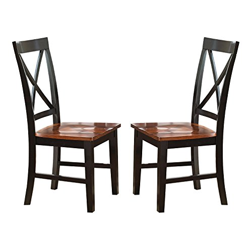 Svitlife Keaton Solid Wood Dining Chair (Set of 2) - 40 inches high x 18 inches wide x 22 inches deep - Black Dining Chairs Set Solid Century - Style Chair Chippendale Side Mahogany