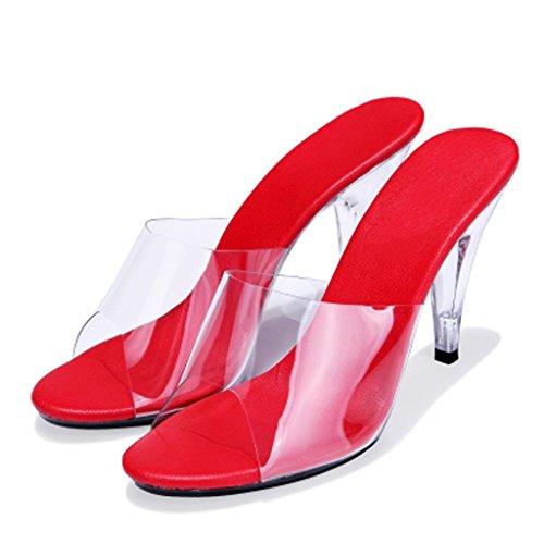 da Cristallo Alti all'aperto di Tacchi Trasparenti Sala Ballo Portare 10 Sandali Red Pantofole LLP Scarpe Lavoro da con da Cm Donna Sandali da Scarpe wFqx0SH