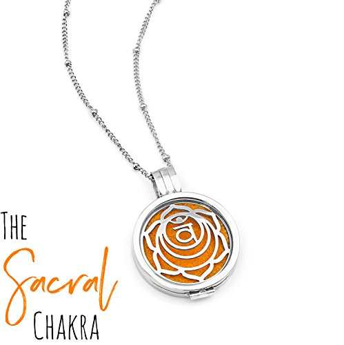 Chakra Diffuser Necklace - Interchangeable Plate, 30mm, 20.8inch Length Chain (Maximum Length), 9 Diffuser Pads (Orange - Sacral Chakra)