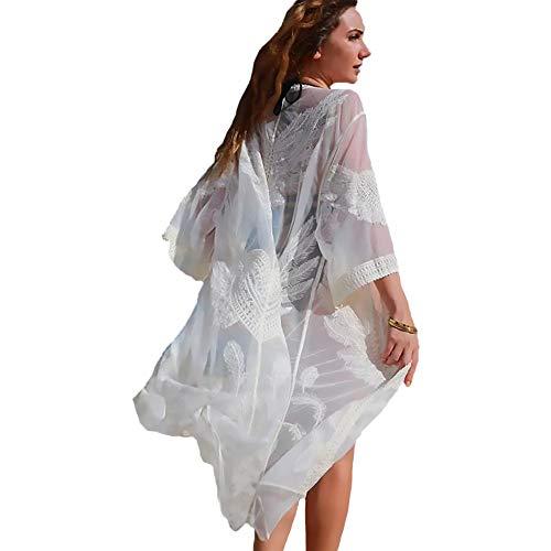 a46350cad7a Exlura Women Swimsuit Cardigan Bathing Suit Kimono Long Beach Dress Floral  Lace Bikini Swimwear Cover up