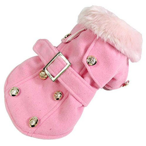Dogloveit Fashion Elegant Windbreaker Jacket With Woolen Collar Soft Winter Coat For Dog Cat Puppy Pet, Pink, Small