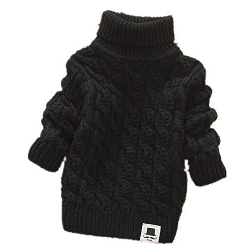 (Boys Girls Turtleneck Sweaters Soft Warm Children's Sweater (3-4 years, black))