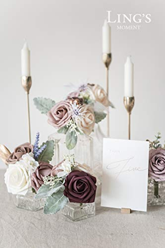 Lings-moment-Artificial-Flowers-25pcs-Real-Looking-Plum-Purple-Fake-Roses-wStem-for-DIY-Wedding-Bouquets-Centerpieces-Bridal-Shower-Party-Home-Decorations