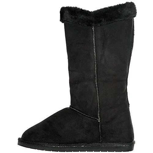Shearling Fur Blackice Women's Lined Winter Calf Mid Warm shoewhatever Boots Microfiber qStR5vxq
