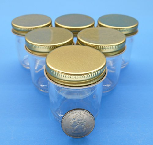 1.5 Ounce Small Glass Jelly Jars with Gold Metal Plastisol Lids. Jars and Lids Made in the USA. (6 Pack)