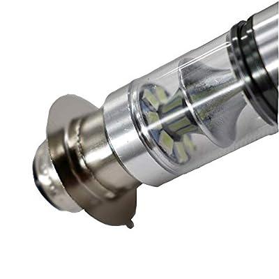 2pcs H6 100W Headlights Bulbs Fit For Yamaha Wolverine 450 2006-2010 8000K Ice Blue: Automotive