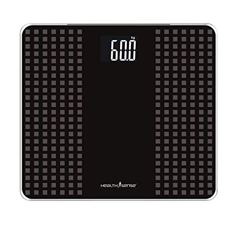 HealthSense PS 117 Digital Personal Body Weight Scale with Step-On Technology (Black/Grey)